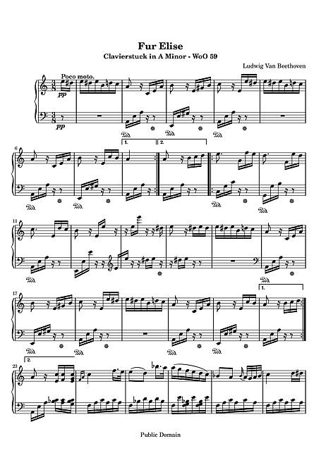 Für Elise Original version - Piano - Sheet music - Cantorion