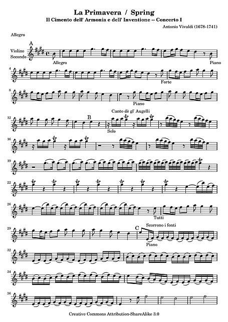 Spring Concerto No 1 La Primavera Violin 2 Violin