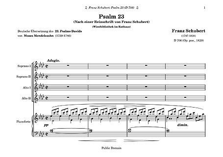 Psalm 23 Full score - Voice, SSAA, Piano - Sheet music